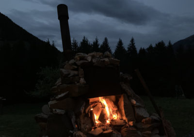 Night fire outside